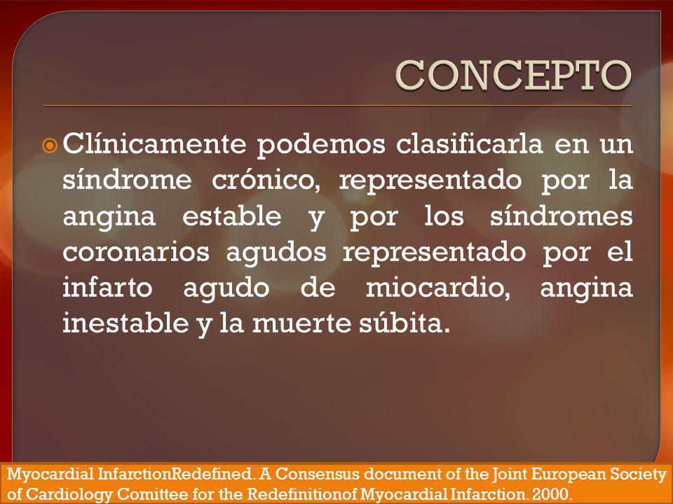 Clínicamente podemos clasificarla en un síndrome crónico, representado por la angina estable y por los síndromes coronarios agudos representado por el