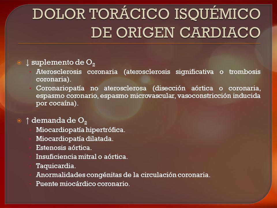 suplemento de O 2 Aterosclerosis coronaria (aterosclerosis significativa o trombosis coronaria). Coronariopatía no aterosclerosa (disección aórtica o