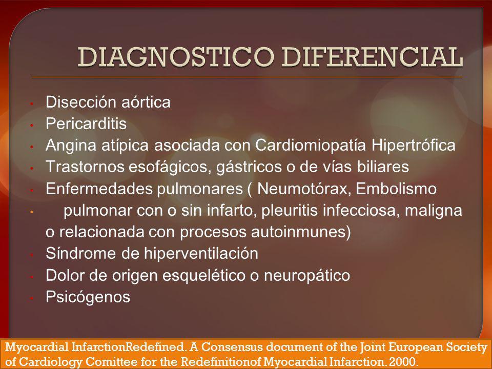 Disección aórtica Pericarditis Angina atípica asociada con Cardiomiopatía Hipertrófica Trastornos esofágicos, gástricos o de vías biliares Enfermedade