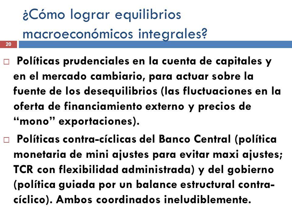 ¿Cómo lograr equilibrios macroeconómicos integrales? 20 Políticas prudenciales en la cuenta de capitales y en el mercado cambiario, para actuar sobre