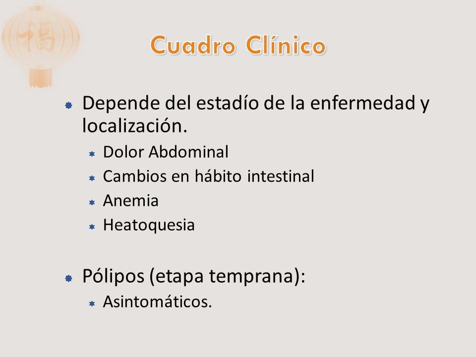 Etapas Avanzadas: Colon Derecho: Anemia, Fatiga y debilidad Colon Izquierdo: Obstrucción, cambios en el hábito intestinal, heces con estrías de sangre.