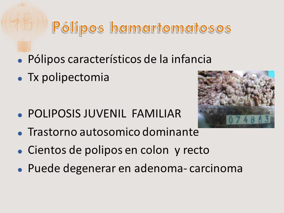 Sindrome Peutz-Jeghers Poliposis en ID y en menor proporción en colon Puntos de melanina en mucosa vestibular Con poca frecuencia malignizan