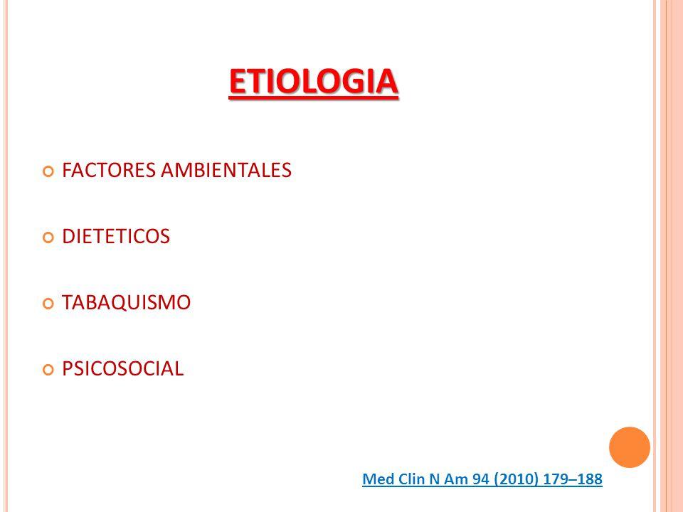 ETIOLOGIA FACTORES AMBIENTALES DIETETICOS TABAQUISMO PSICOSOCIAL Med Clin N Am 94 (2010) 179–188