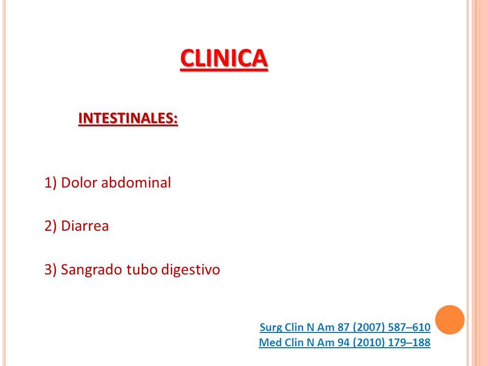 CLINICA INTESTINALES: 1) Dolor abdominal 2) Diarrea 3) Sangrado tubo digestivo Med Clin N Am 94 (2010) 179–188 Surg Clin N Am 87 (2007) 587–610