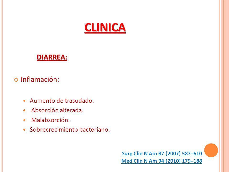 CLINICA DIARREA: Inflamación: Aumento de trasudado. Absorción alterada. Malabsorción. Sobrecrecimiento bacteriano. Med Clin N Am 94 (2010) 179–188 Sur