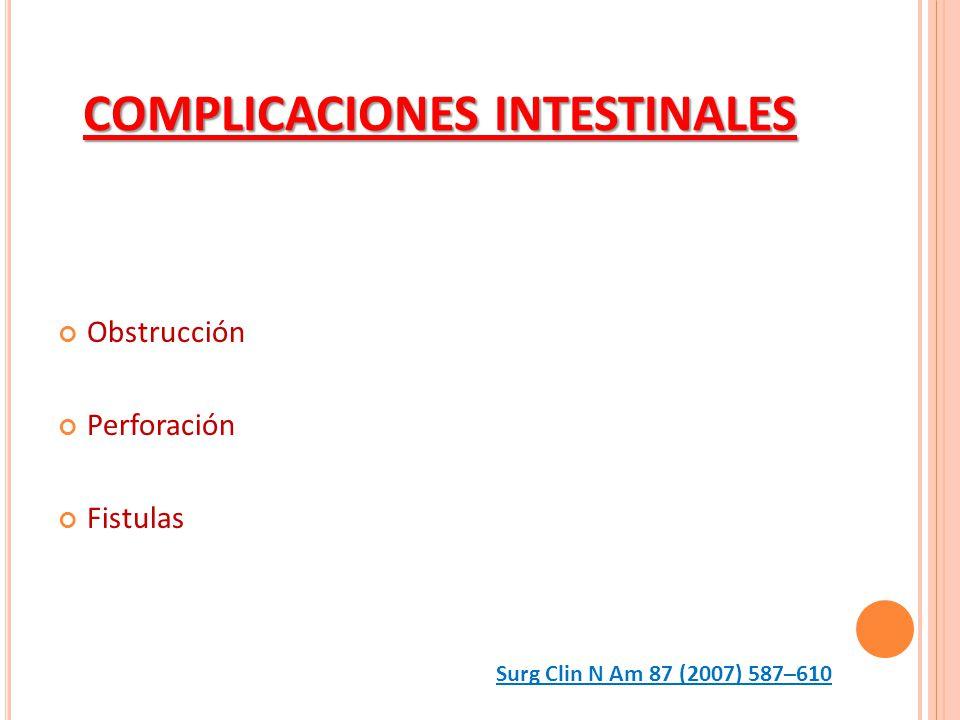 COMPLICACIONES INTESTINALES Obstrucción Perforación Fistulas Surg Clin N Am 87 (2007) 587–610