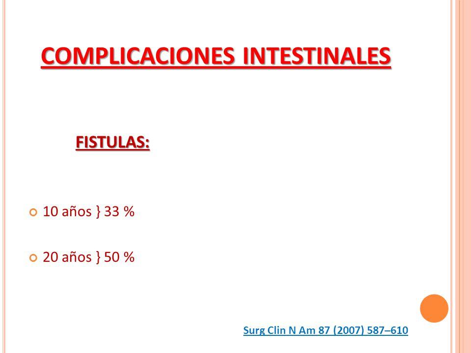 COMPLICACIONES INTESTINALES FISTULAS: 10 años } 33 % 20 años } 50 % Surg Clin N Am 87 (2007) 587–610