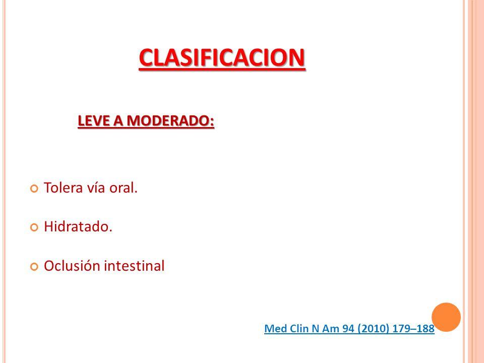 CLASIFICACION LEVE A MODERADO: Tolera vía oral. Hidratado. Oclusión intestinal Med Clin N Am 94 (2010) 179–188