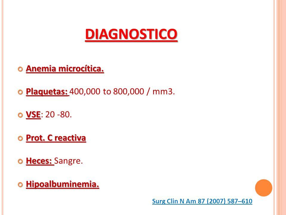 DIAGNOSTICO Anemia microcítica. Anemia microcítica. Plaquetas: Plaquetas: 400,000 to 800,000 / mm3. VSE VSE: 20 -80. Prot. C reactiva Prot. C reactiva
