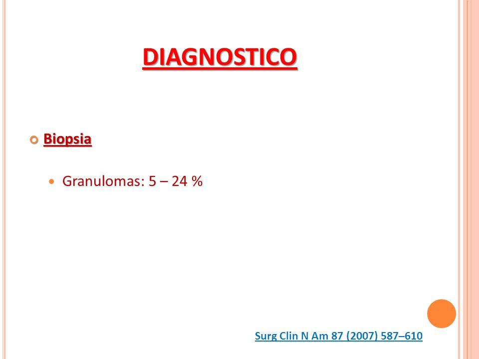DIAGNOSTICO Biopsia Biopsia Granulomas: 5 – 24 % Surg Clin N Am 87 (2007) 587–610