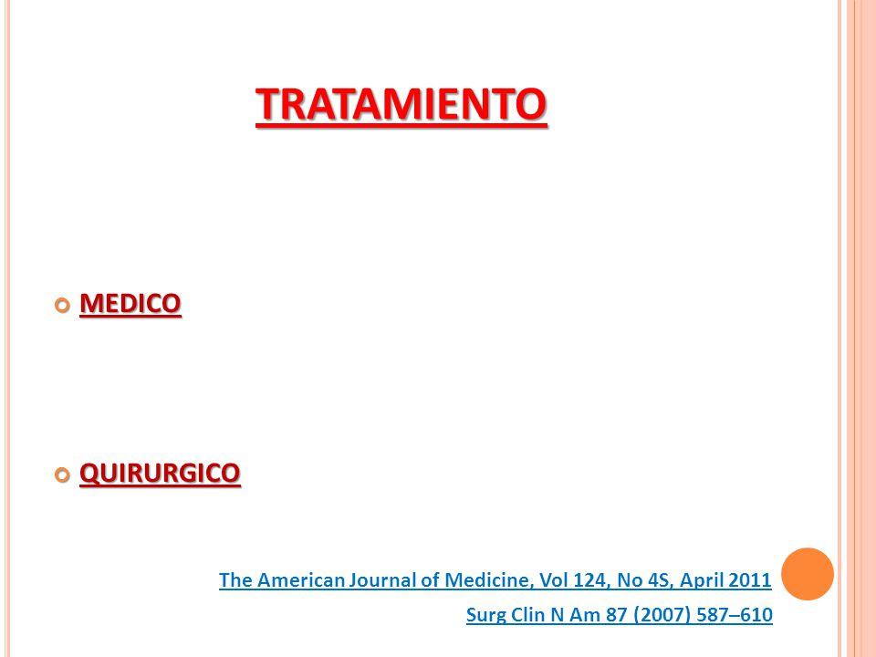 TRATAMIENTO MEDICO MEDICO QUIRURGICO QUIRURGICO Surg Clin N Am 87 (2007) 587–610 The American Journal of Medicine, Vol 124, No 4S, April 2011