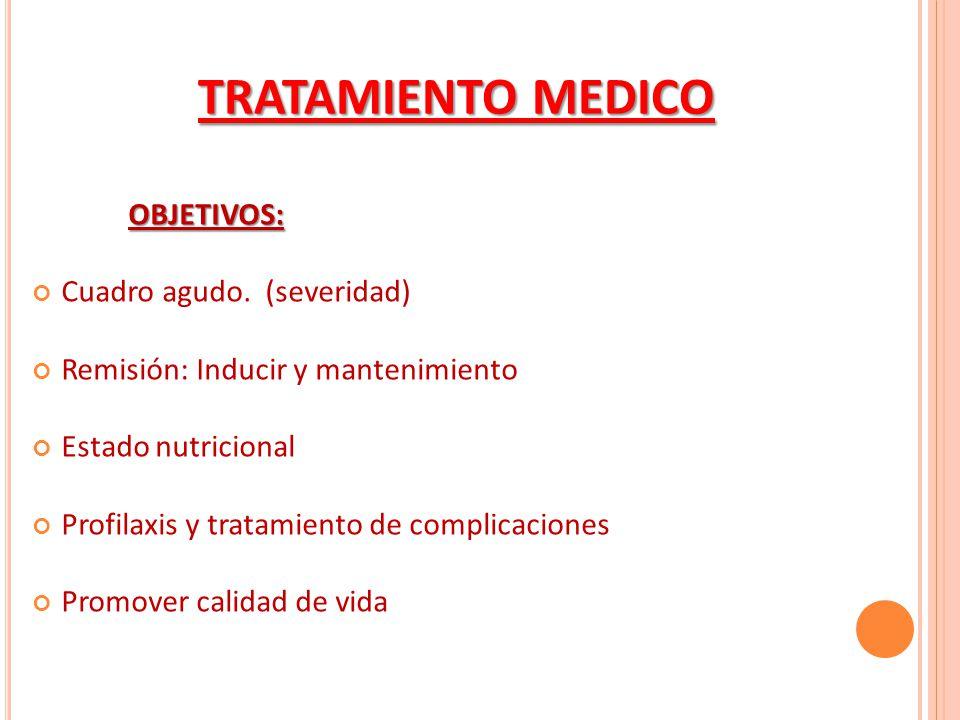 OBJETIVOS: Cuadro agudo. (severidad) Remisión: Inducir y mantenimiento Estado nutricional Profilaxis y tratamiento de complicaciones Promover calidad