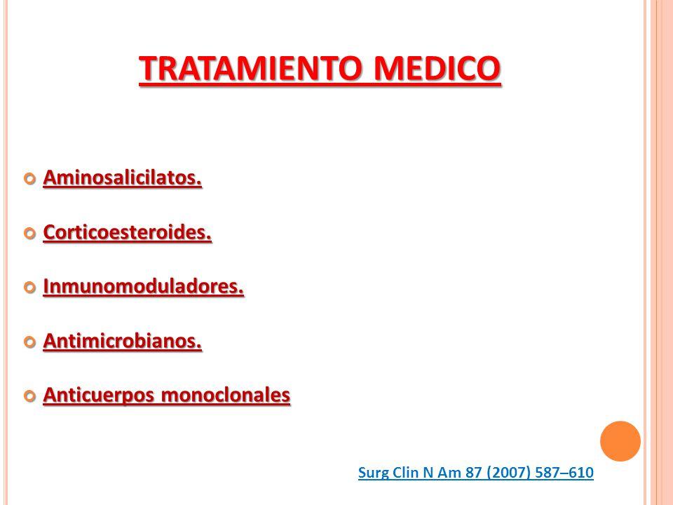 Aminosalicilatos. Aminosalicilatos. Corticoesteroides. Corticoesteroides. Inmunomoduladores. Inmunomoduladores. Antimicrobianos. Antimicrobianos. Anti