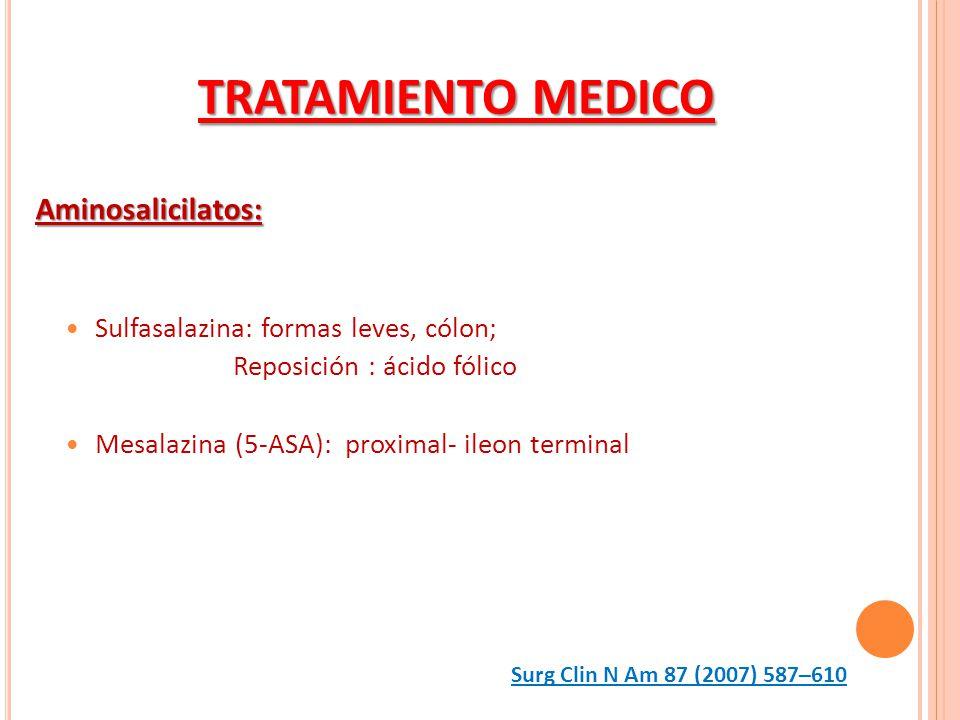 Aminosalicilatos: Sulfasalazina: formas leves, cólon; Reposición : ácido fólico Mesalazina (5-ASA): proximal- ileon terminal TRATAMIENTO MEDICO Surg C
