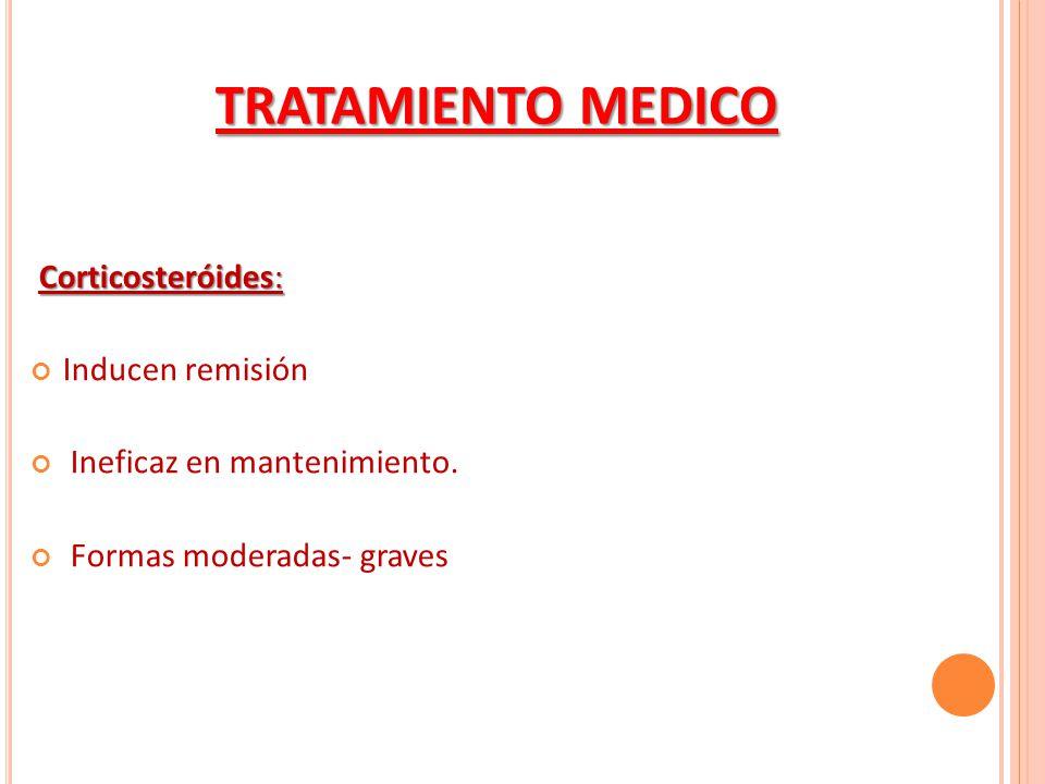 Corticosteróides: Inducen remisión Ineficaz en mantenimiento. Formas moderadas- graves TRATAMIENTO MEDICO