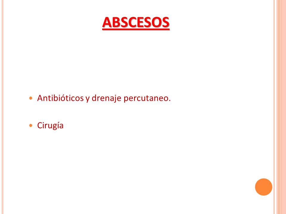 Antibióticos y drenaje percutaneo. Cirugía ABSCESOS
