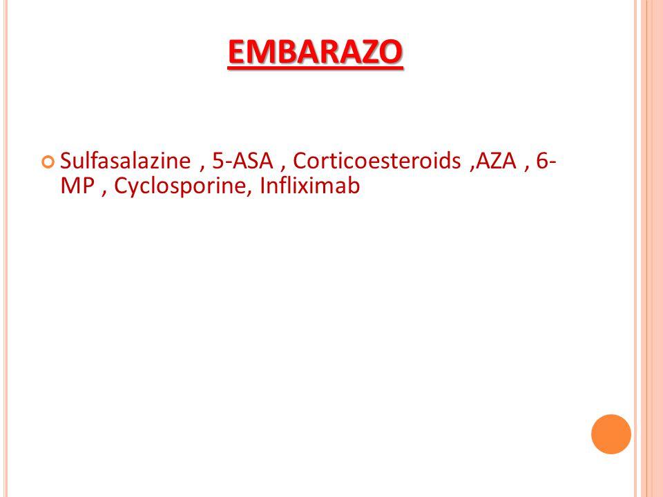 Sulfasalazine, 5-ASA, Corticoesteroids,AZA, 6- MP, Cyclosporine, Infliximab EMBARAZO