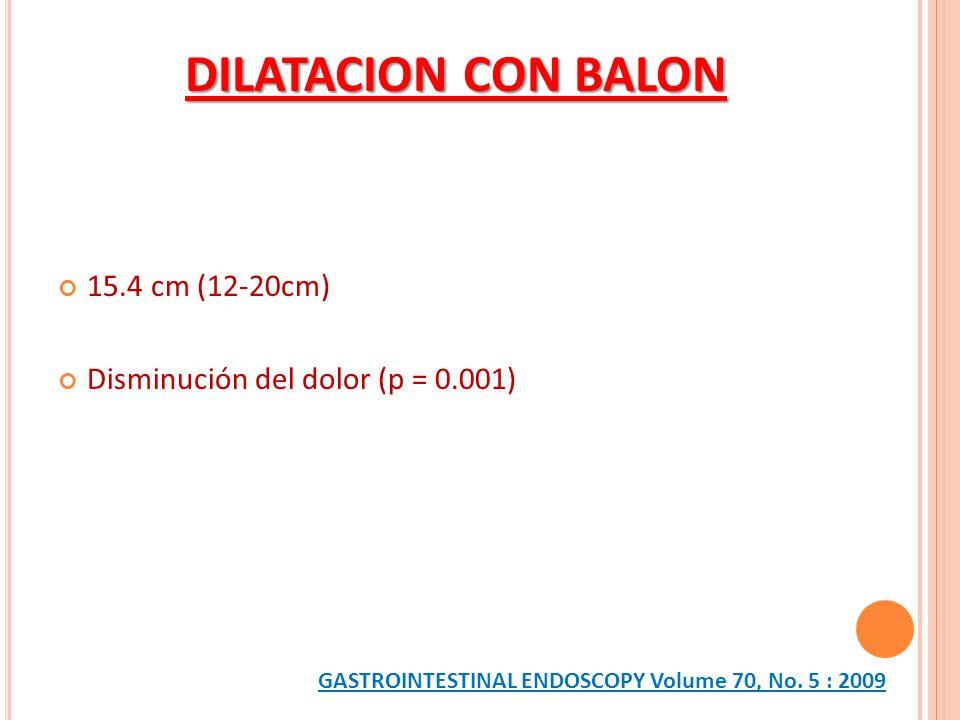 15.4 cm (12-20cm) Disminución del dolor (p = 0.001) DILATACION CON BALON GASTROINTESTINAL ENDOSCOPY Volume 70, No. 5 : 2009