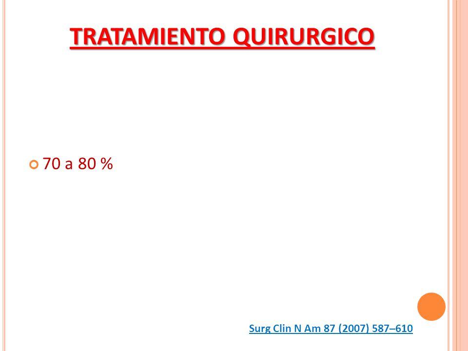70 a 80 % TRATAMIENTO QUIRURGICO Surg Clin N Am 87 (2007) 587–610