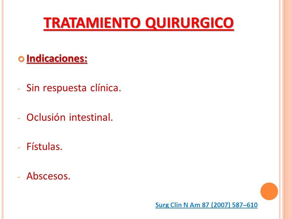 Indicaciones: Indicaciones: - Sin respuesta clínica. - Oclusión intestinal. - Fístulas. - Abscesos. TRATAMIENTO QUIRURGICO Surg Clin N Am 87 (2007) 58