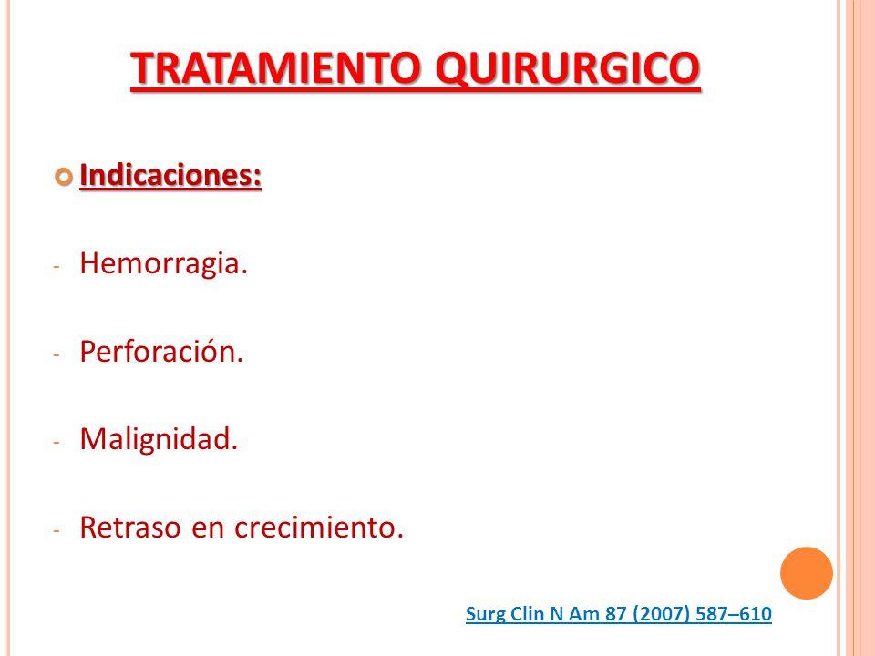 Indicaciones: Indicaciones: - Hemorragia. - Perforación. - Malignidad. - Retraso en crecimiento. TRATAMIENTO QUIRURGICO Surg Clin N Am 87 (2007) 587–6