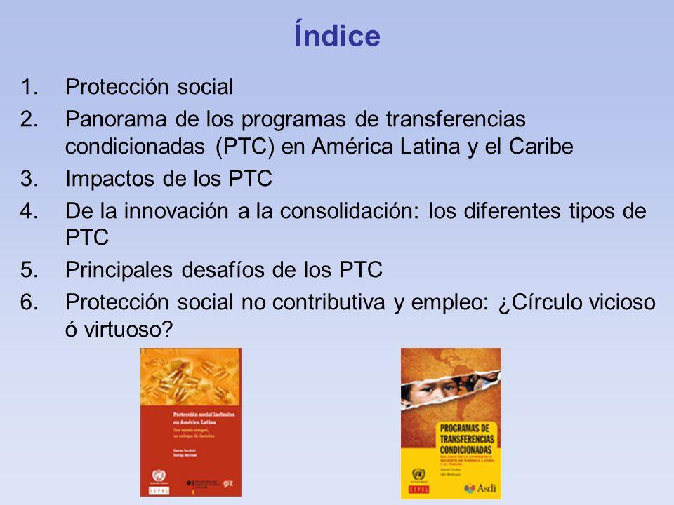 Índice 1.Protección social 2.Panorama de los programas de transferencias condicionadas (PTC) en América Latina y el Caribe 3.Impactos de los PTC 4.De la innovación a la consolidación: los diferentes tipos de PTC 5.Principales desafíos de los PTC 6.Protección social no contributiva y empleo: ¿Círculo vicioso ó virtuoso?