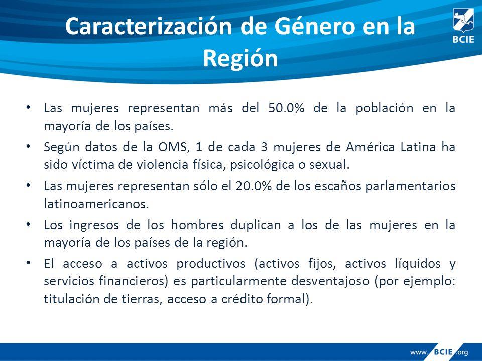 Caracterización de Género en la Región Las mujeres representan más del 50.0% de la población en la mayoría de los países.