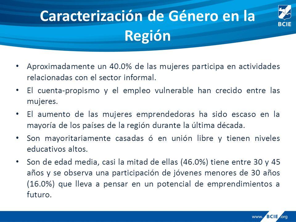 Caracterización de Género en la Región Aproximadamente un 40.0% de las mujeres participa en actividades relacionadas con el sector informal.