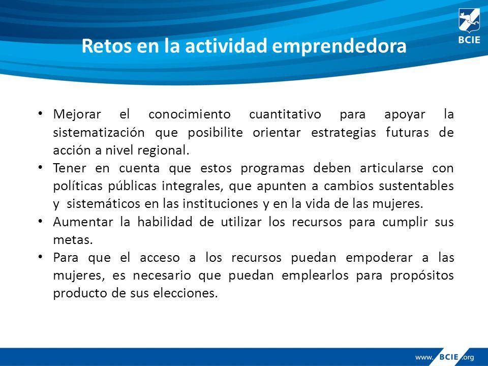 Retos en la actividad emprendedora Mejorar el conocimiento cuantitativo para apoyar la sistematización que posibilite orientar estrategias futuras de acción a nivel regional.