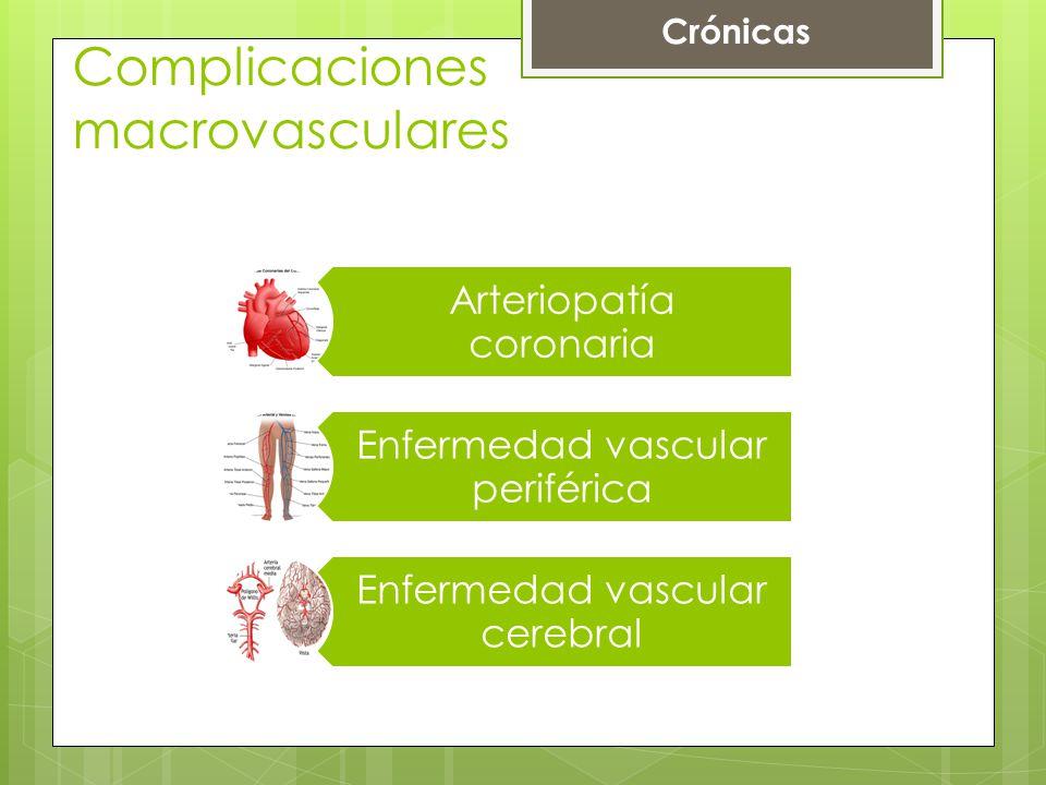 Complicaciones macrovasculares Arteriopatía coronaria Enfermedad vascular periférica Enfermedad vascular cerebral Crónicas