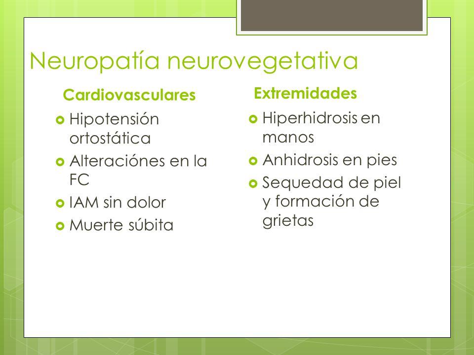 Neuropatía neurovegetativa Cardiovasculares Hipotensión ortostática Alteraciónes en la FC IAM sin dolor Muerte súbita Extremidades Hiperhidrosis en ma
