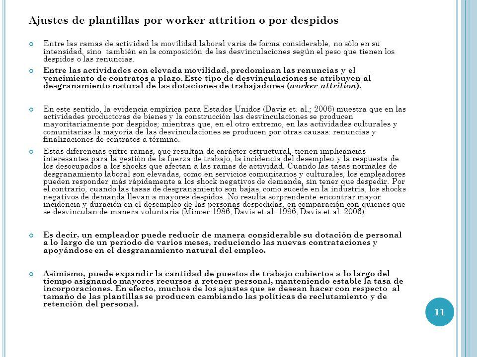 Ajustes de plantillas por worker attrition o por despidos Entre las ramas de actividad la movilidad laboral varía de forma considerable, no sólo en su