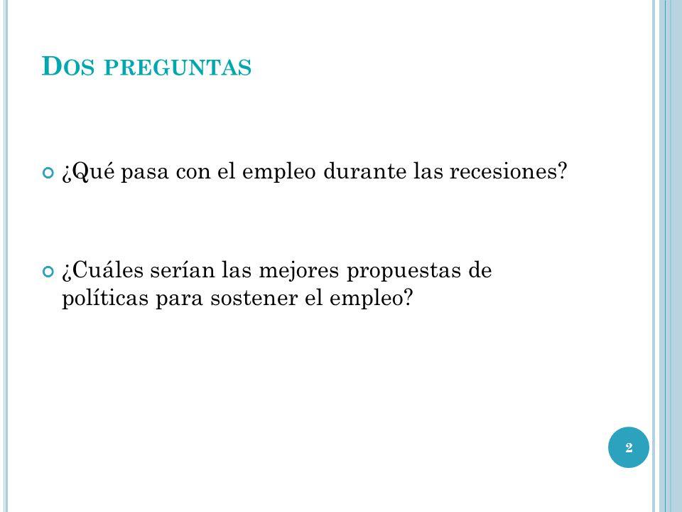 D OS PREGUNTAS ¿Qué pasa con el empleo durante las recesiones? ¿Cuáles serían las mejores propuestas de políticas para sostener el empleo? 2