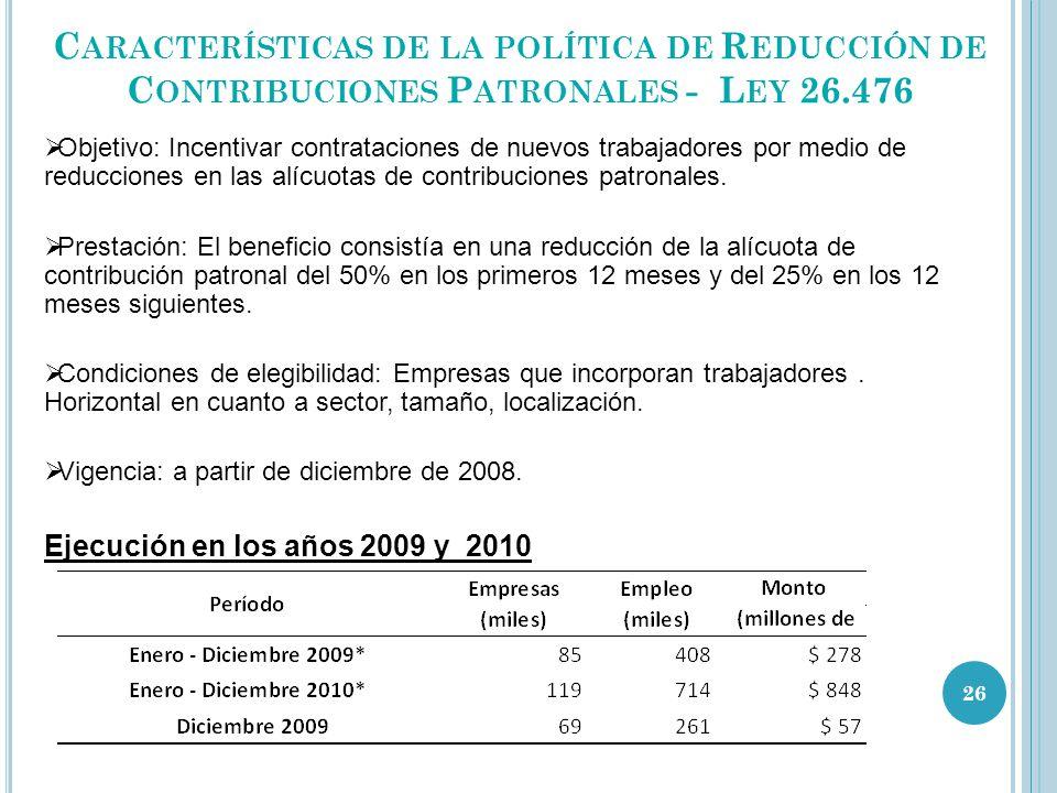 C ARACTERÍSTICAS DE LA POLÍTICA DE R EDUCCIÓN DE C ONTRIBUCIONES P ATRONALES - L EY 26.476 Objetivo: Incentivar contrataciones de nuevos trabajadores