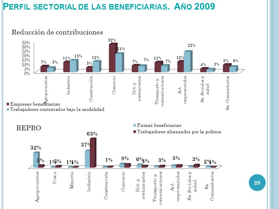 P ERFIL SECTORIAL DE LAS BENEFICIARIAS. A ÑO 2009 28 Reducción de contribuciones REPRO