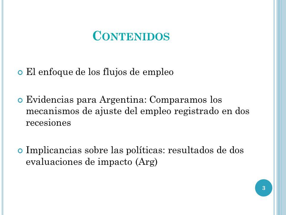 C ONTENIDOS El enfoque de los flujos de empleo Evidencias para Argentina: Comparamos los mecanismos de ajuste del empleo registrado en dos recesiones Implicancias sobre las políticas: resultados de dos evaluaciones de impacto (Arg) 3