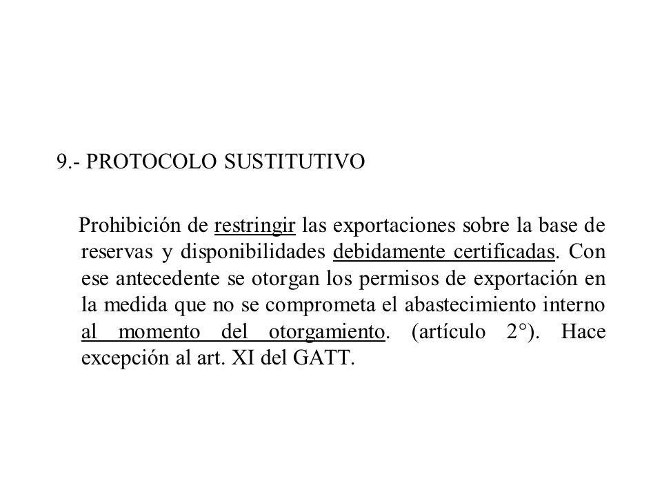 9.- PROTOCOLO SUSTITUTIVO Prohibición de restringir las exportaciones sobre la base de reservas y disponibilidades debidamente certificadas. Con ese a