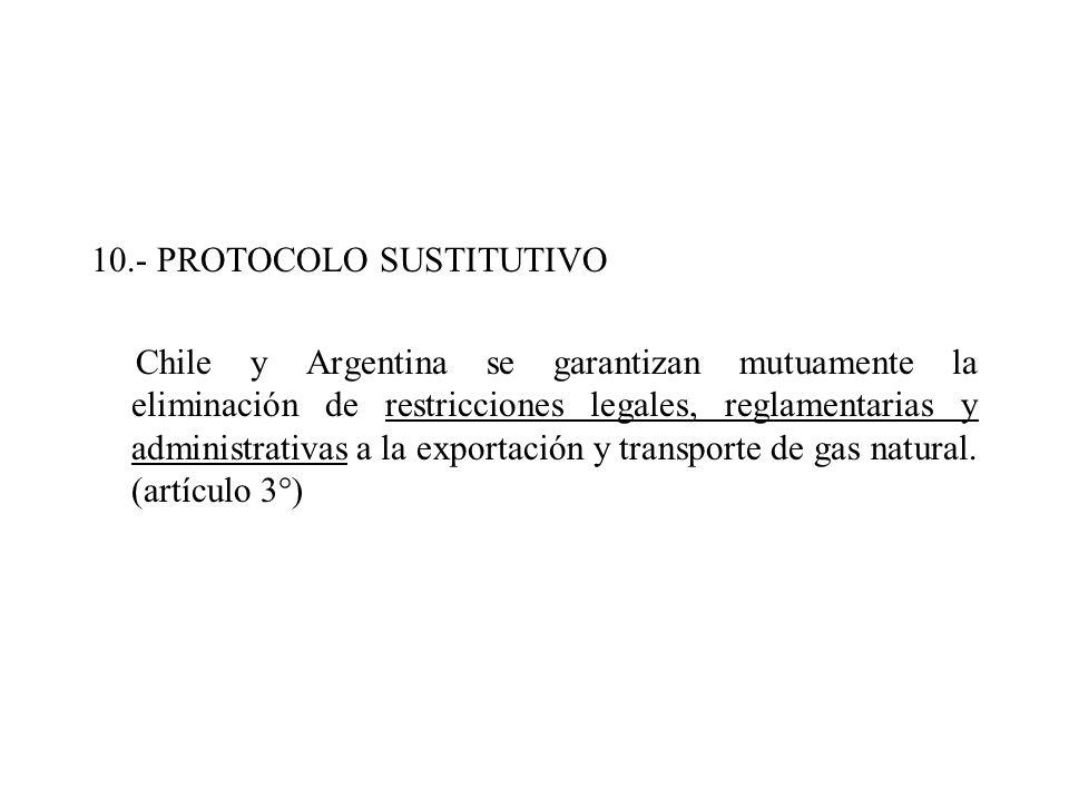 10.- PROTOCOLO SUSTITUTIVO Chile y Argentina se garantizan mutuamente la eliminación de restricciones legales, reglamentarias y administrativas a la exportación y transporte de gas natural.