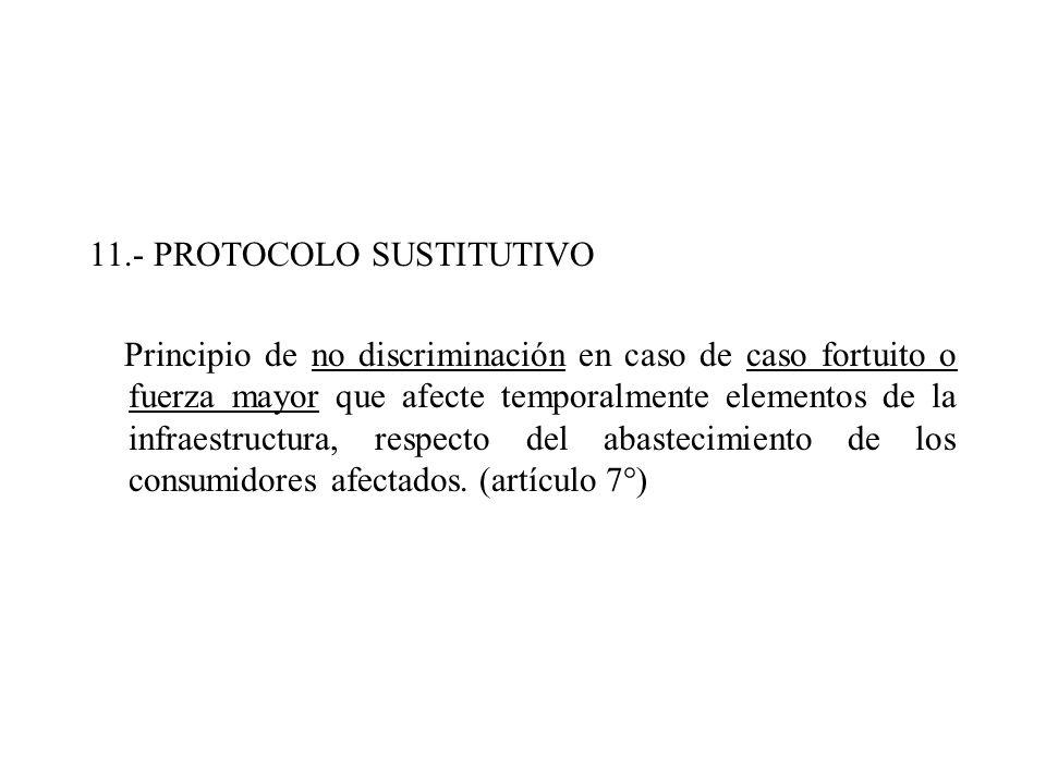 11.- PROTOCOLO SUSTITUTIVO Principio de no discriminación en caso de caso fortuito o fuerza mayor que afecte temporalmente elementos de la infraestruc
