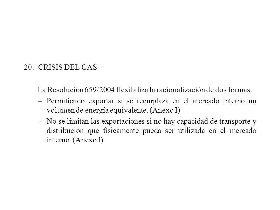 20.- CRISIS DEL GAS La Resolución 659/2004 flexibiliza la racionalización de dos formas: –Permitiendo exportar si se reemplaza en el mercado interno un volumen de energía equivalente.