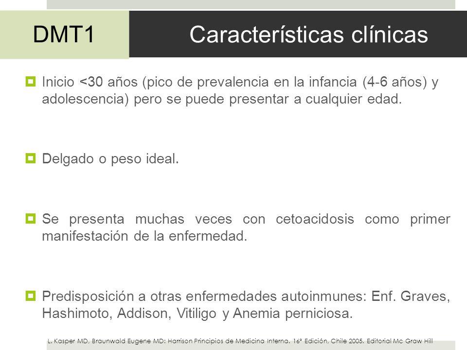 Características clínicas Inicio <30 años (pico de prevalencia en la infancia (4-6 años) y adolescencia) pero se puede presentar a cualquier edad. Delg