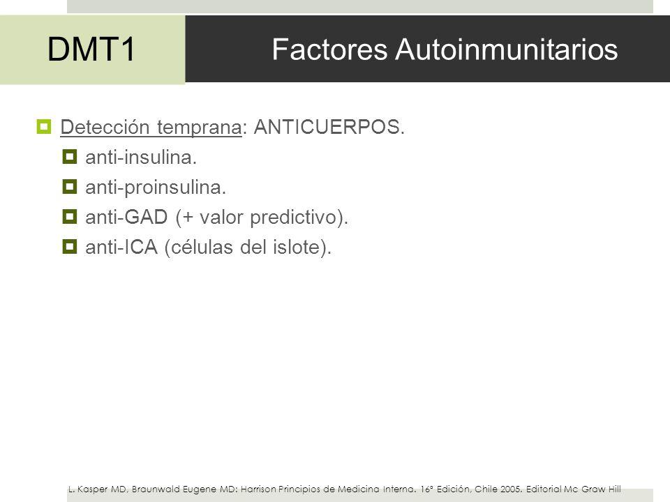 Factores Autoinmunitarios Detección temprana: ANTICUERPOS. anti-insulina. anti-proinsulina. anti-GAD (+ valor predictivo). anti-ICA (células del islot