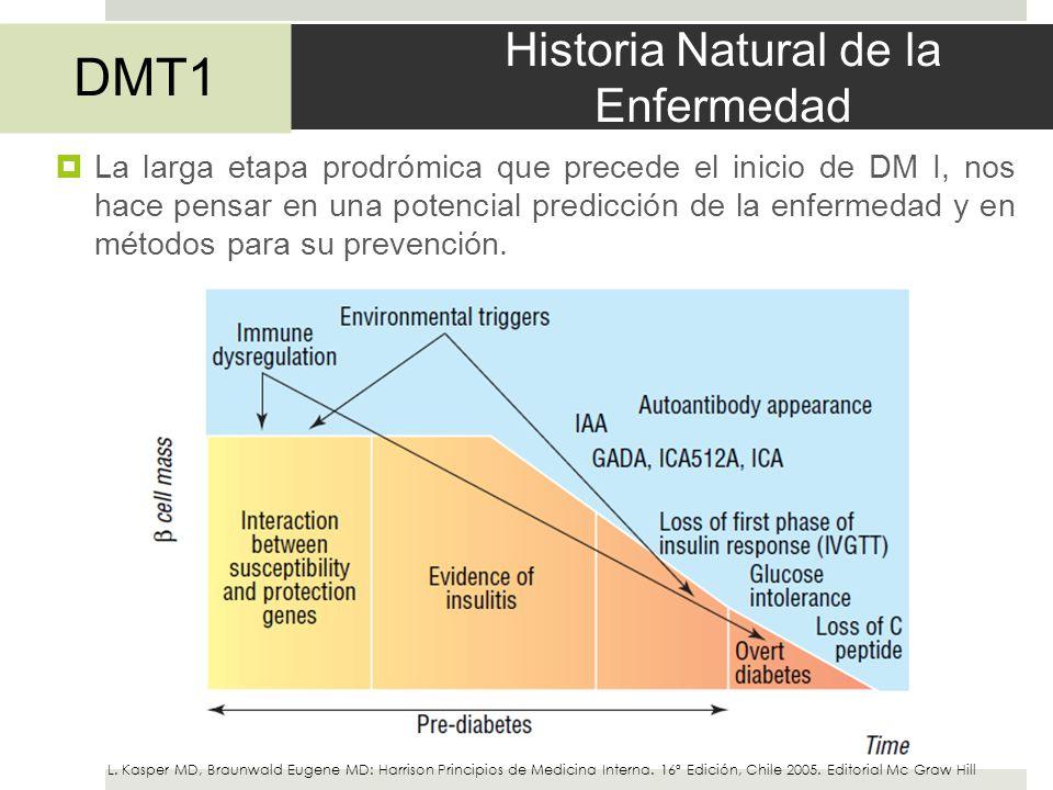 Historia Natural de la Enfermedad La larga etapa prodrómica que precede el inicio de DM I, nos hace pensar en una potencial predicción de la enfermeda