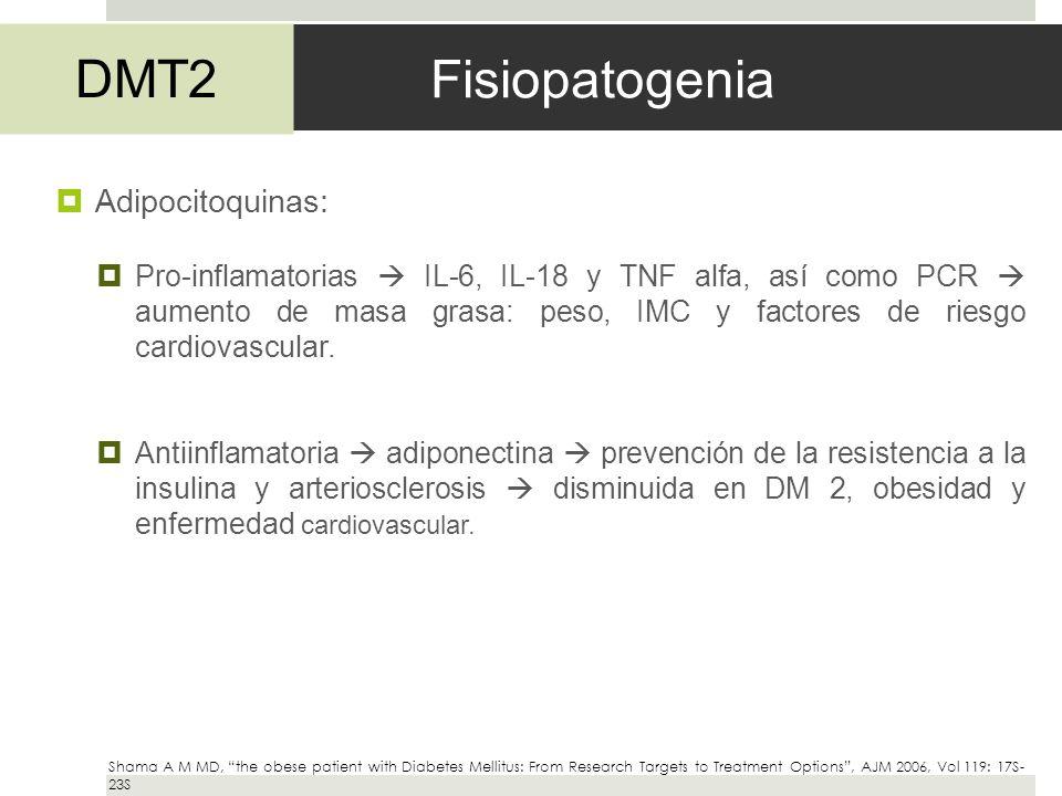 Fisiopatogenia Adipocitoquinas: Pro-inflamatorias IL-6, IL-18 y TNF alfa, así como PCR aumento de masa grasa: peso, IMC y factores de riesgo cardiovas