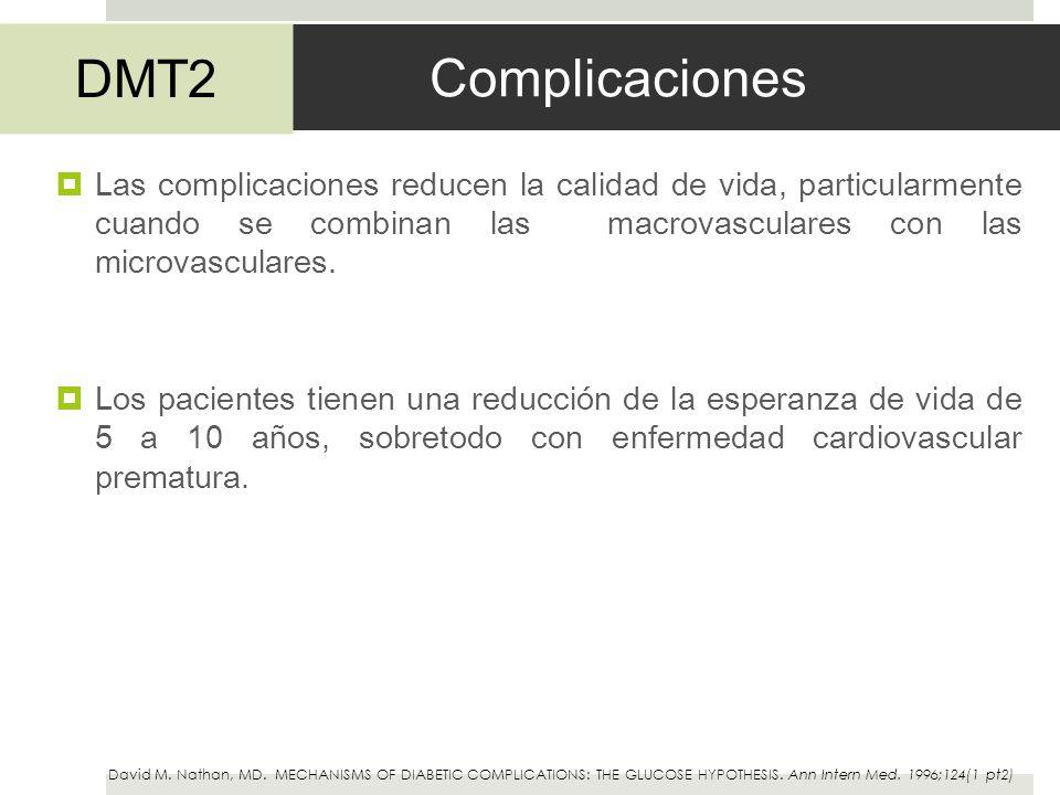 Complicaciones Las complicaciones reducen la calidad de vida, particularmente cuando se combinan las macrovasculares con las microvasculares. Los paci