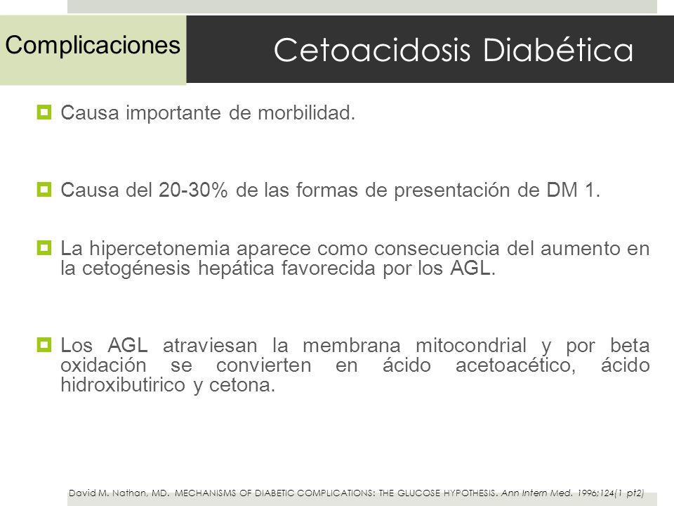 Cetoacidosis Diabética Causa importante de morbilidad. Causa del 20-30% de las formas de presentación de DM 1. La hipercetonemia aparece como consecue