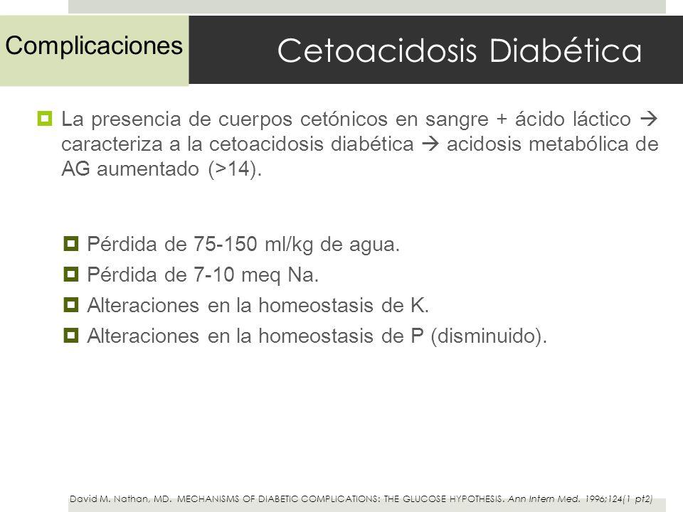 Cetoacidosis Diabética La presencia de cuerpos cetónicos en sangre + ácido láctico caracteriza a la cetoacidosis diabética acidosis metabólica de AG a