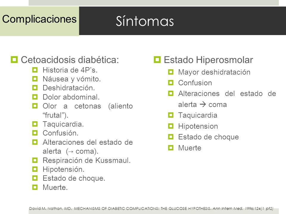 Síntomas Cetoacidosis diabética: Historia de 4Ps. Náusea y vómito. Deshidratación. Dolor abdominal. Olor a cetonas (aliento frutal). Taquicardia. Conf