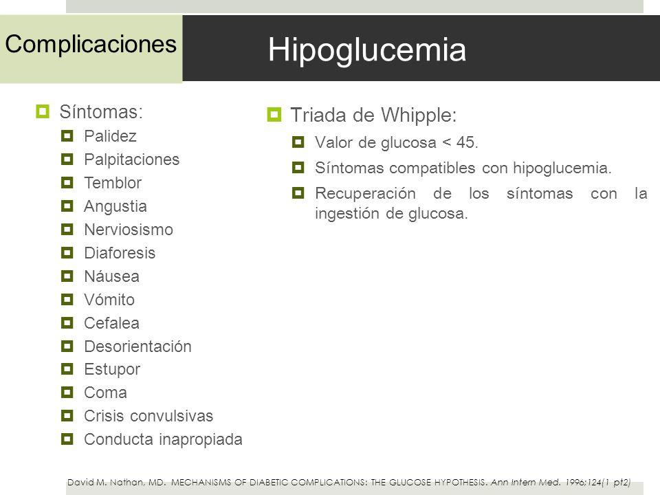 Hipoglucemia Síntomas: Palidez Palpitaciones Temblor Angustia Nerviosismo Diaforesis Náusea Vómito Cefalea Desorientación Estupor Coma Crisis convulsi