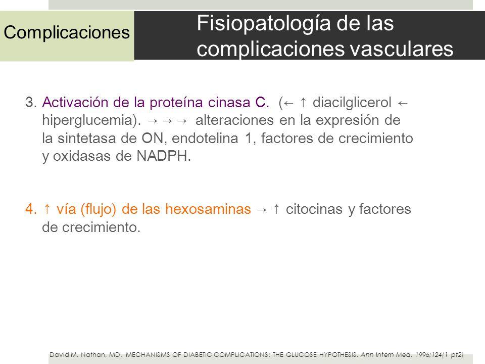 Fisiopatología de las complicaciones vasculares 3. Activación de la proteína cinasa C. ( diacilglicerol hiperglucemia). alteraciones en la expresión d